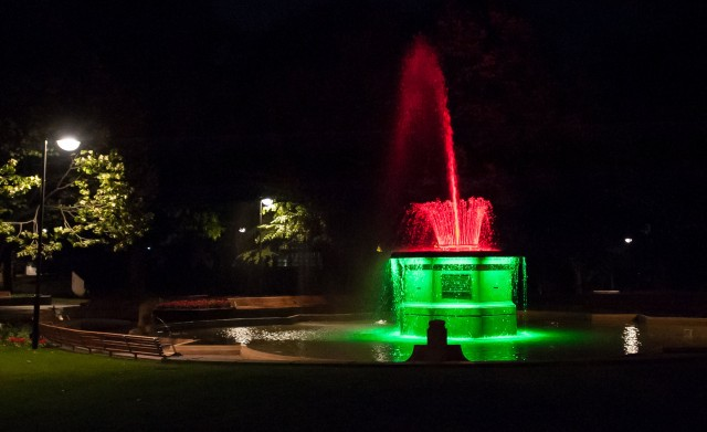 Bowker Fountain at night