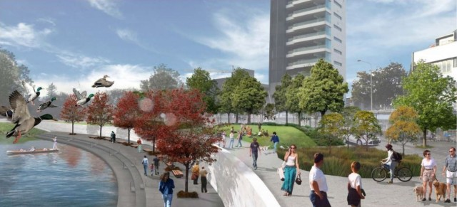 An artist's impression of the city promenade (right) that will be built above the memorial wall in 2017