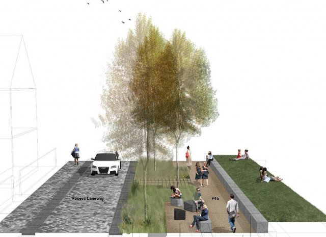 Artist impression of Access Lane and rain garden