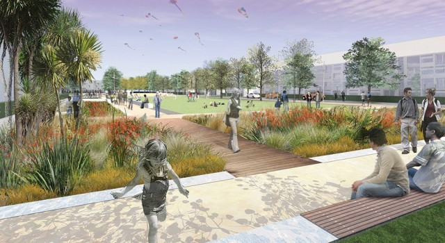 Artist impression of the East Frame public spaces