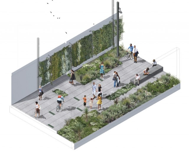 Artist impression of a section of The Greenway